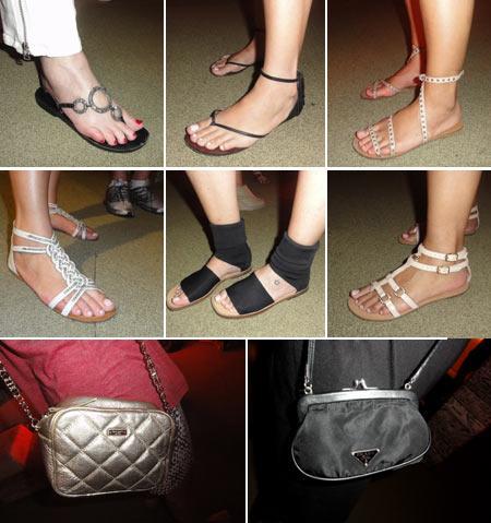As sandálias em estilo gladiador e as bolsas Kate Spade e Prada: detalhes preciosos no camarote Salvador 2011