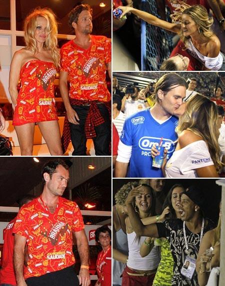Pamela Anderson, Gisele Bündchen e Tom Brady, Jude Law e Ronaldinho Gaúcho: Carnaval pra lá de animado no Rio