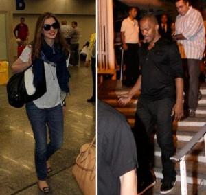 Anne Hathaway e Jamie Foxx estão no Rio! E estão todos animados!