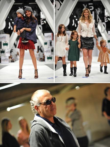 Cris Barros com o sobrinho, Didi Wagner com as filhas, e Toninho Abdalla: fechando o dia no Sony Fashion Weekend Kids