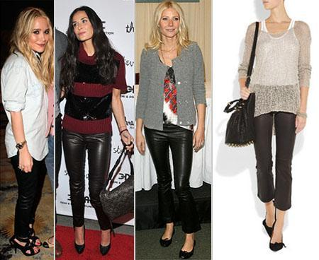 Ashley Olsen, Demi Moore, Gwyneth Paltrow, transparency: all the versatility of leather pants