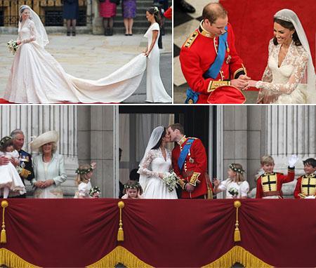 Kate Middleton sendo ajudada por sua irmã Pippa, William e Kate no altar e o beijo dos recém-casados no Palácio de Buckingham: dia para ficar na memória!