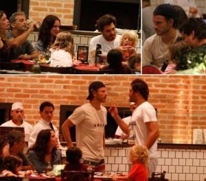 Encontro de deusos!! Thiago Lacerda e Rodrigo Hilbert comeram uma bela de um pizza ontem!