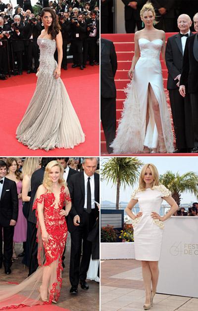 Salma Hayek de Gucci, Uma Thurman de Versace, Rachel McAdams usando Marchesa e Maxime Simoens: tapete vermelho de Cannes