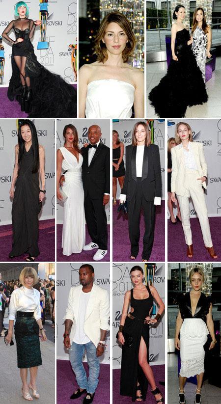 Lady Gaga, Sofia Coppola, Lucy Liu, Vera Wang, Liya Kebede, Phoebe Philo, Elettra Wiedemann, Anna Wintour, Kanye West, Miranda Kerr e Chloë Sevigny: black and white