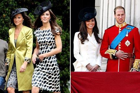 Kate com a irmã, à tarde, e ao lado do príncipe William, de manhã: pretinho básico
