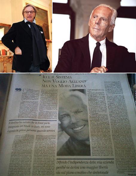 Giorgio Armani: speaks more to Corriere della Sera