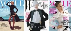 """Já viu as capas de agosto da """"Vogue"""" norte-americana, francesa e da """"W""""?"""