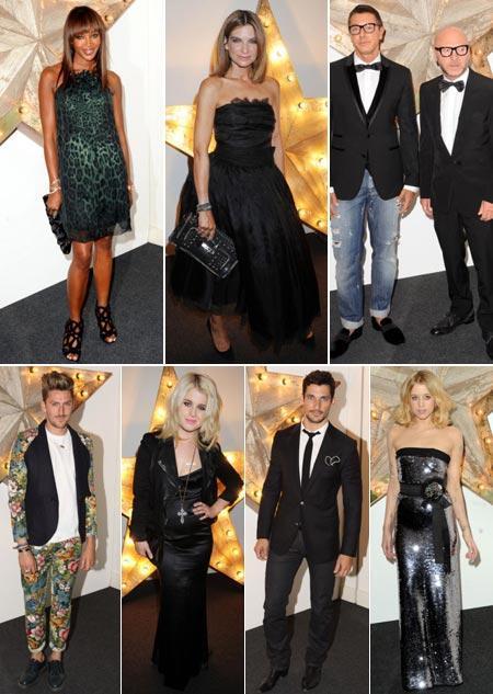 Naomi Campbell, Natalie Massenet, Stefano Gabbana and Domenico Dolce, Henry Holland, Kelly Osbourne, model David Gandy and Peaches Geldof: night in London!