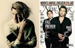 """Brad Pitt está de look novo! O moço estampa a capa e um ensaio da """"New York Magazine!"""" com as madeixas longas"""