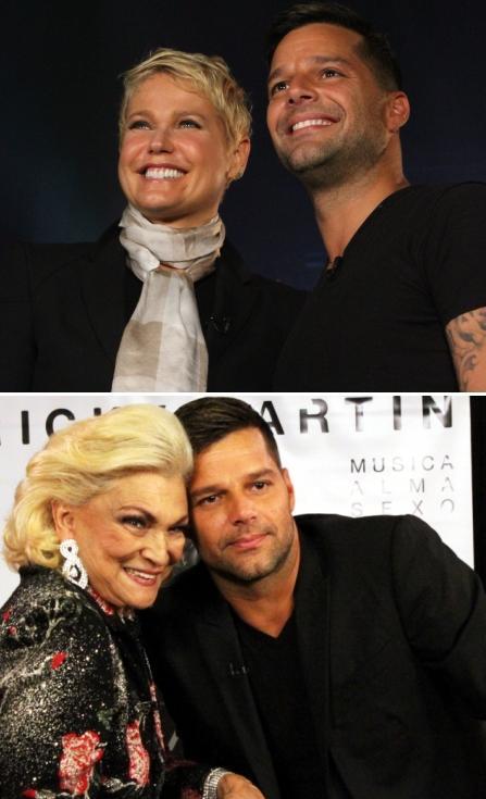 Ricky Martin com Xuxa e com Hebe Camargo: reunião de estrelas