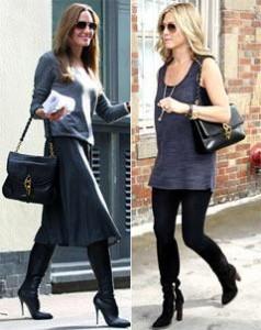 Angelina Jolie e Jennifer Aniston usam a mesma bolsa: a Carine, de Tom Ford