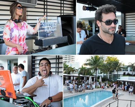 A DJ Analu, Rico Mansur, André Marques e o clima na Arkadia Pool, no hotel Fontainebleau, em Miami: festa das boas