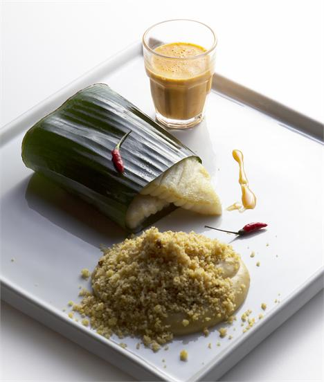 Arraia na folha de bananeira, com purê de banana-da-terra, farofa de farinha d´água e molho de coco, do Dui: novas apostas