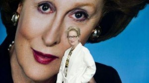 "Viram os cartazes do filme ""Iron Lady""? É aquela no qual a Meryl Streep interpreta Thatcher!"
